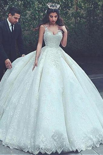 Lace V-neck Neckline Ball Gown Wedding Dresses With Lace Appliques & Beadings,W1691
