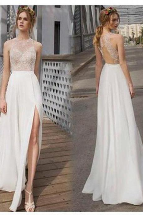 Beautiful White Side Split Prom Dress, Open Back Charming Bridesmaid Dresses, Cheap Simple Beach Wedding Dress,W1726