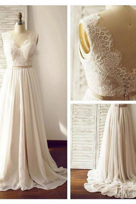 V-neck Sleeveless Open Back Wedding Dress with Lace Sash,W1806