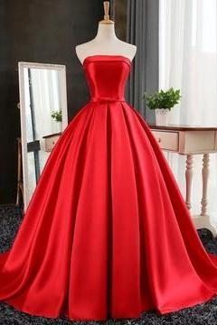 Sexy Long Satin Strapless Ball Gowns Prom Dresses 2018,P1926