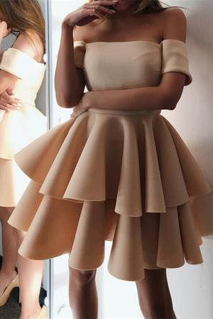 Cute A-line Off The Shoulder Ruffles Homecoming Dresses Short,H1927
