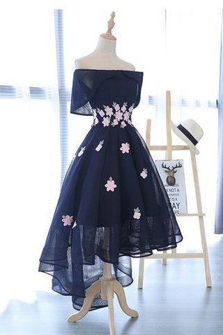 A-Line Dark Navy High-Low Appliques Short Homecoming Dress,HL2054