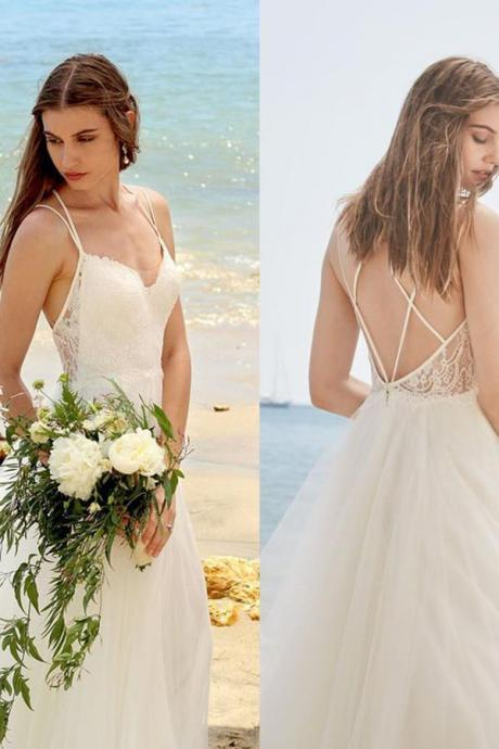 Simple Spaghetti Straps Ivory A Line Tulle Beach Wedding Dress,W2118
