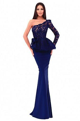 Formal Lace & Acetate Satin One-shoulder Neckline Sheath / Column Evening Dress With Hamdmade Flowers,P2170