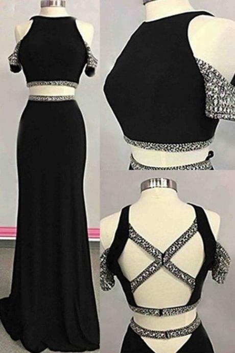 Black chiffon two pieces sequins long evening dresses,unique prom dress,two piece black off shoulder crystal evening gown,P2174