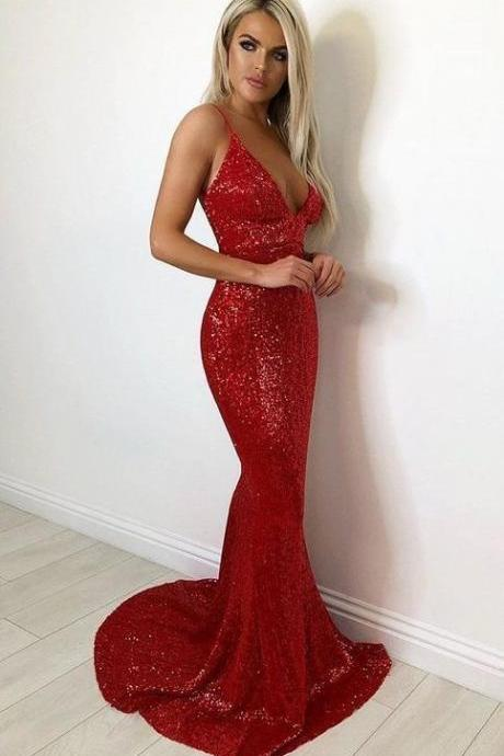 Double shoulder strap lace sequin mermaid ball gown ,P2178