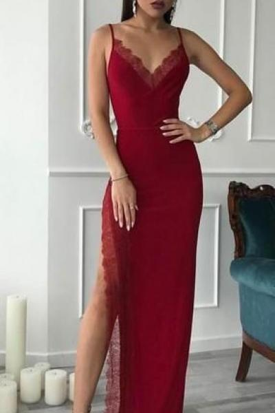 Red Spaghetti Long Side Slit Sheath Prom Dresses, Formal Evening Dresses, Prom Dresses, P2185