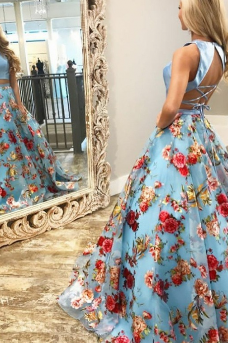 Two Piece Round Neck Sweep Train Blue Floral Organza Prom Dress,P2189