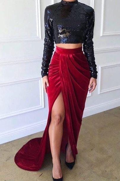 Two Pieces Long Sleeves Side Slit Mermaid Long Prom Dresses,P2193