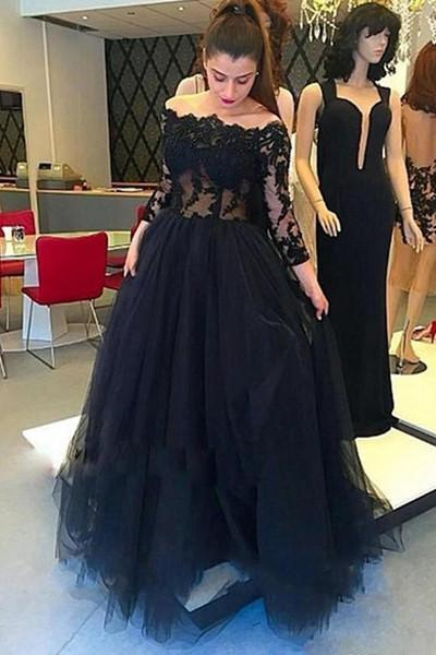 Long Sleeves Black Lace Off Shoulder Sexy Prom Dresses Evening Gowns ,P2201