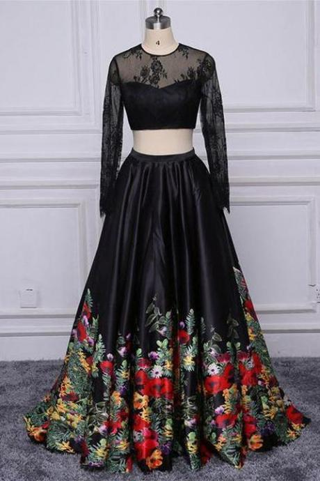 Chic 2 Pieces Long Sleeves Black Lace Embroidery Cheap Prom Dresses Evening Gown Party Dress ,P2203