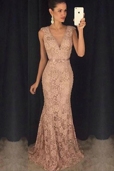 Blush Pink Lace Mermaid V Neck Beads Sexy Long Prom Dresses Evening Gowns,P2206