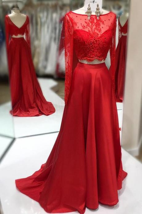 Long Sleeves 2 Piece Red Lace Back V Long Prom Dresses Party Gowns ,P2207