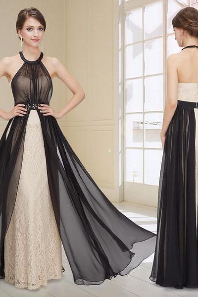 Lace Backless Black Halter Long Prom Dresses Evening Gowns,P2208