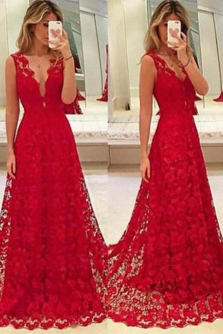 Red Lace Prom Dresses Sexy Sheath Evening Dresses Party Prom Dresses Front Split Prom Dress,P2210