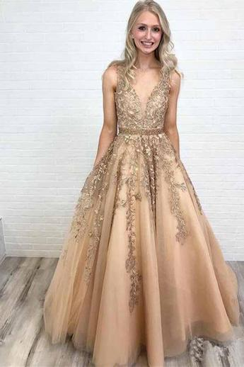 A Line Princess Deep V Neck Lace Gold Long Prom Dresses Formal Evening Fancy Dress Gowns,P2213