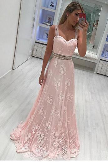 New Arrival Pink Lace Straps Shoulder Long Prom Dresses Formal Evening Fancy Dress,P2214