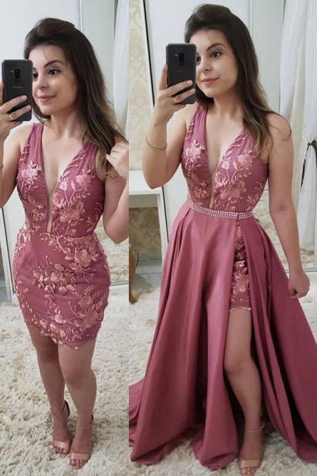 Fashion Deep V Neck Lace Detachable Skirt Fancy Prom Dresses Formal Evening Grad Dress,P2215