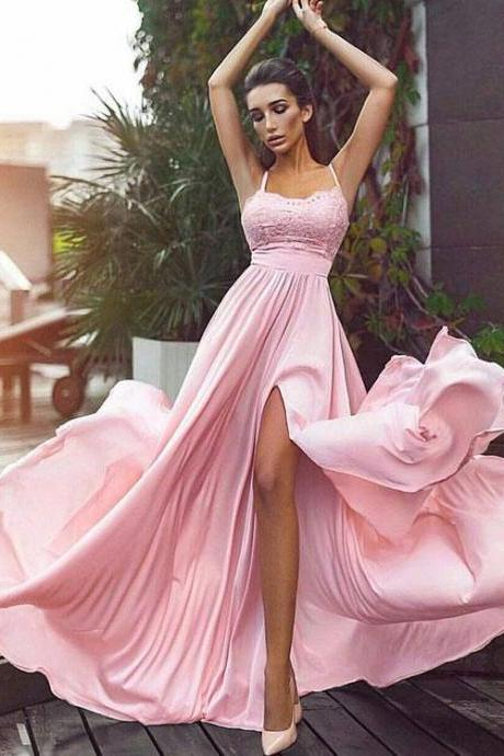 Hot Sexy A-Line Spaghetti Straps Pink Chiffon Long Prom Dress with Split Front,P2220