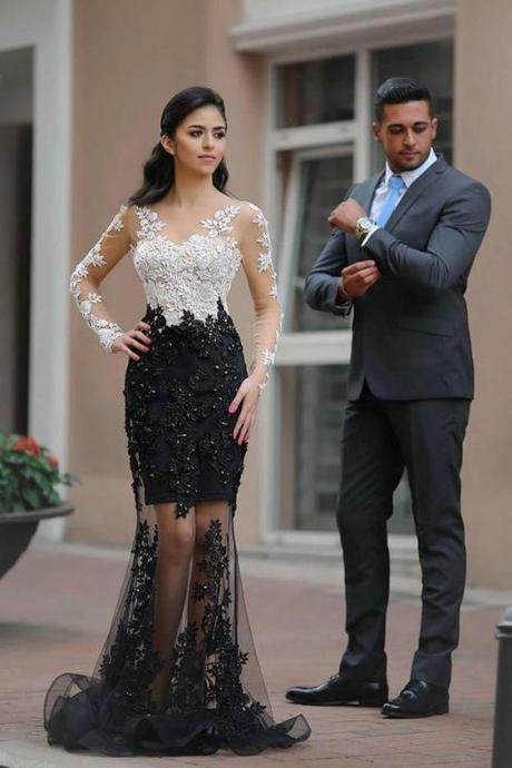 Chic White Black Lace See Through Long Sleeves Mermaid Prom Dresses Formal Evening Dress,P2225