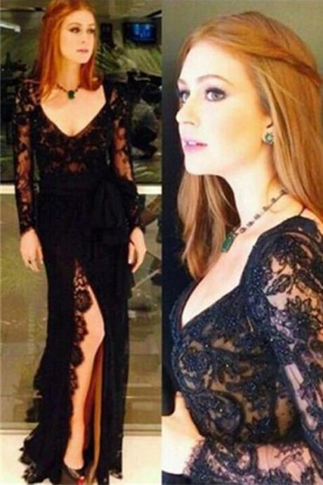 Black Lace V Neck Long Sleeves Front Slit Open Back Prom Dresses Formal Evening Dress ,P2226