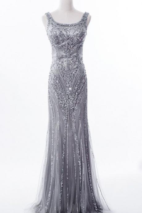 Grey Sequin and Beaded Embellished Floor Length Trumpet Evening Dress Featuring Sleeveless Bodice with Square Neckline,P2252