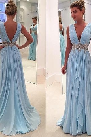 Sky blue lace chiffon long prom dress,evening dress,P2256