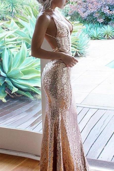 Mermaid Spaghetti Straps Floor-Length Champagne Sequined Prom Dress,P2258