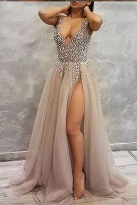 2018 Sexy Prom Dress, Luxury Bling Sparkle Prom Dress,Sexy Prom Dress with Slit ,Prom Dresses,Long Evening dresses,P2265