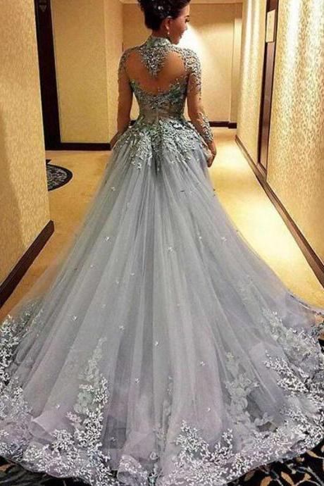 Mermaid Prom Dress, Cheap Princess Prom Dresses, Long Sleeves Prom Dress, Tulle Evening Dress, Gray Evening Dresses, Long Formal Dresses, Prom Dress,P2271