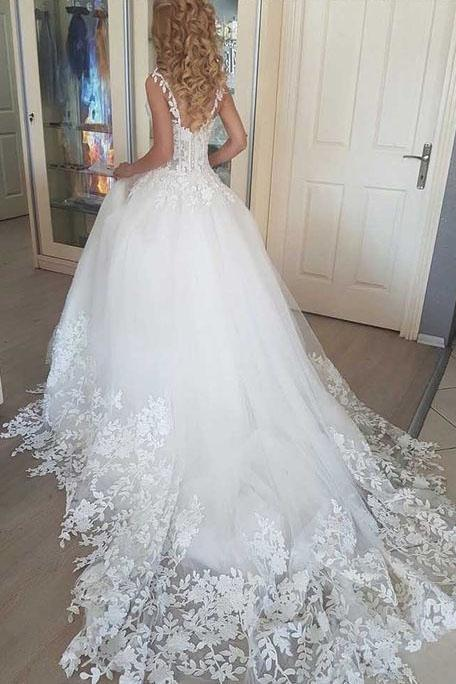 Ball Gown Tulle Wedding Dresses 2019, Romantic Bridal Dress With Appliques,W2273