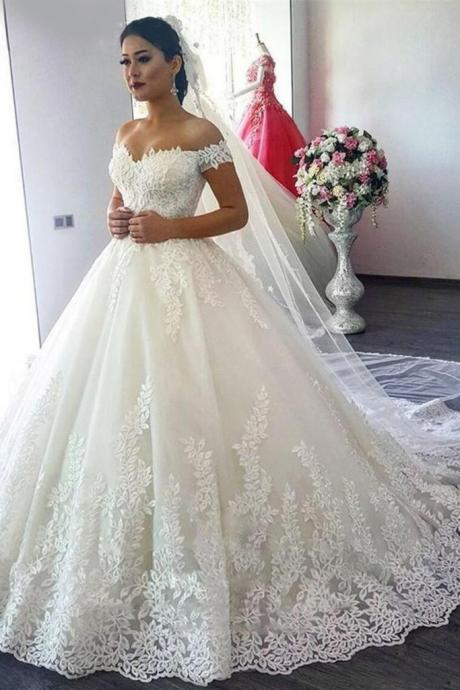 New Arrival Off The Shoulder A Line Wedding Dresses Tulle With Applique Sweep Train,W2276