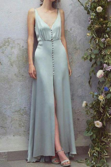 Light blue party dress ,satin, sleeveless prom dress,high slit,spaghetti straps,ball gowns sexy,long formal dress,, Party Dress/Homecoming Dress Short, Evening Gowns,p2277