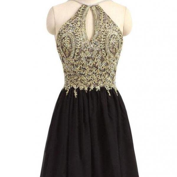 Black Chiffon Homecoming Dress,Gold Beading Lace Halter Graduation Dress,Backless Appliqued A-line Homecoming Dresses For Teens,Homecoming Dress