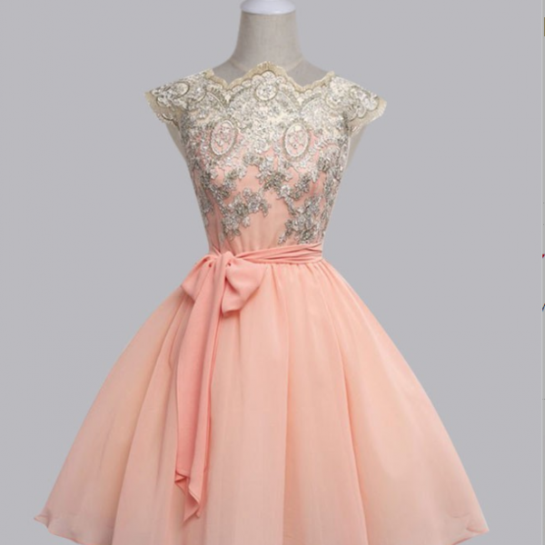 A-Line Scalloped-Edge Cap Sleeves Short Pink Chiffon Prom Dress with Sash