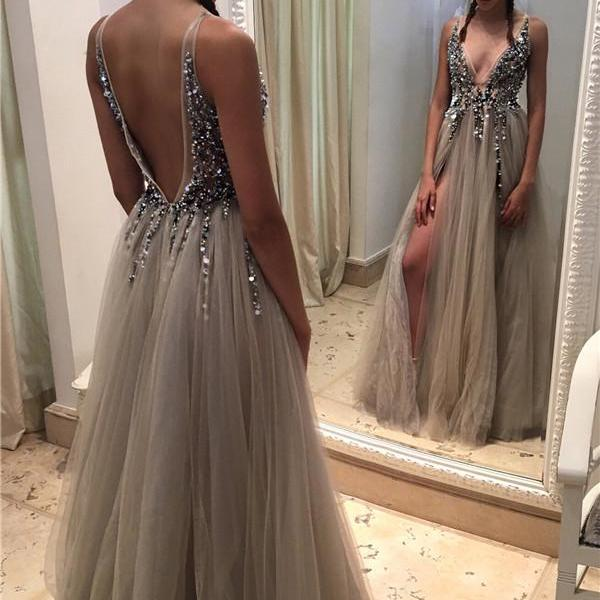 Prom Dresses,Evening Dress,Party Dresses,Newest Beading A-Line Prom Dresses,Deep V-neck Tulle Front Slit Evening Gowns Crystals Open-Back Sexy Beadings Prom Dresses