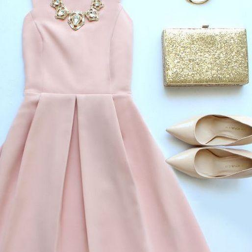 Homecoming Dress,Blush Pink Homecoming Dresses,Sweet 16 Dress,Chiffon Homecoming Dress,Cocktail Dress