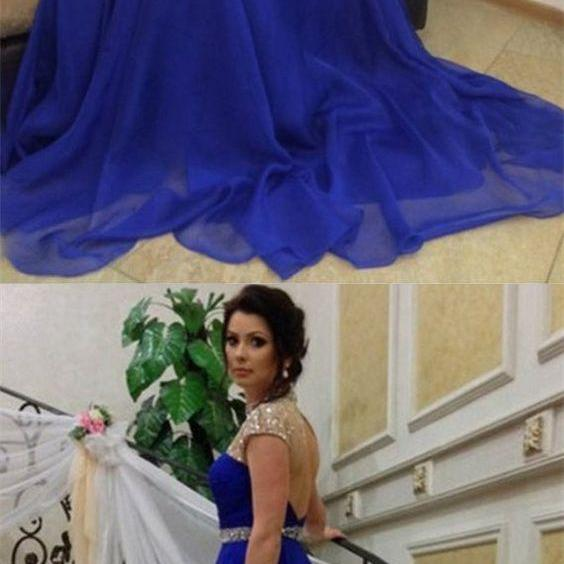 Royal Blue Open Back Beading High Neck A-line Long Prom Dress,P981