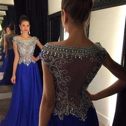 Blue Prom Dress Long, Back To School Dresses, Prom Dresses For Teens, Graduation Party Dresses ,P982