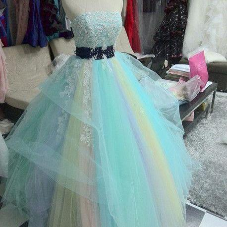 Colorful Prom Dress,Tulle Prom Dress,Strapless Prom Dress,Appliques Prom Dress ,P1047