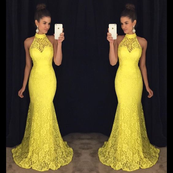 Yellow Prom Dress,Mermaid Prom Dress,Lace Prom Dress,Fashion Prom,P1049
