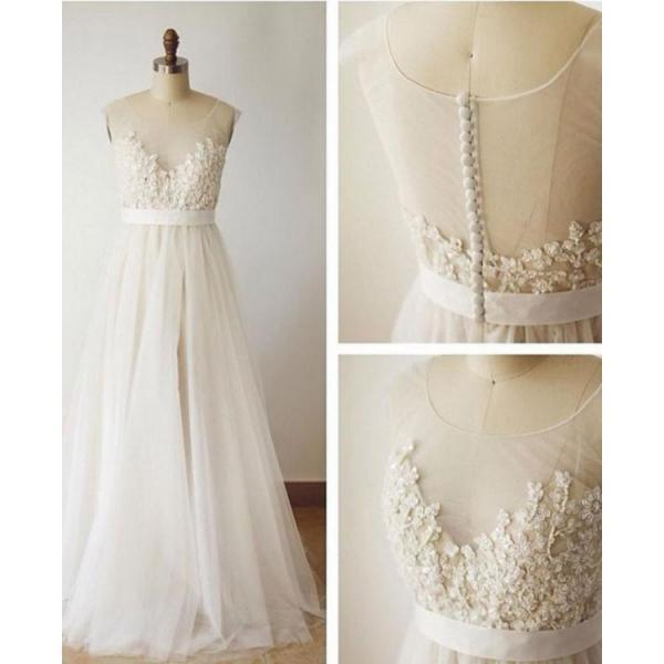 Lace Wedding Dresses, Ivory Wedding Dresses, A-Line Wedding Dresses ,W1874