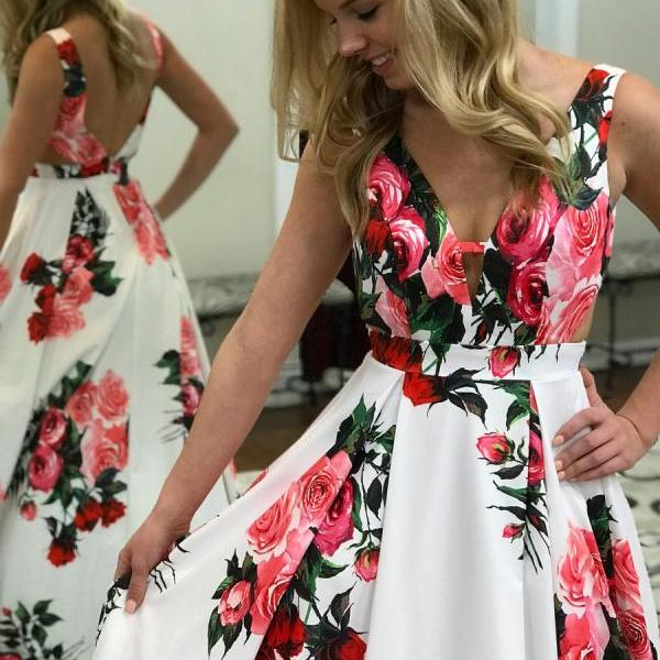 Chic Prom Dresses Straps Aline Rose Floral Print Satin Long Prom Dress,P2240