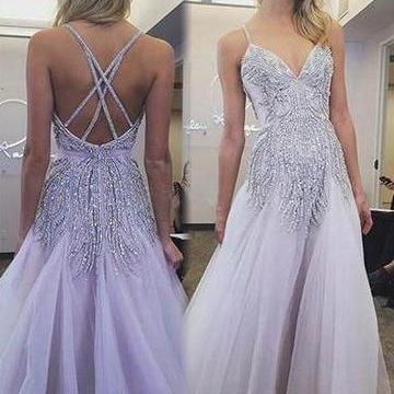 Sexy Prom Dresses Spaghetti Straps A Line Floor-length Lavender Long Prom Dress ,P2241