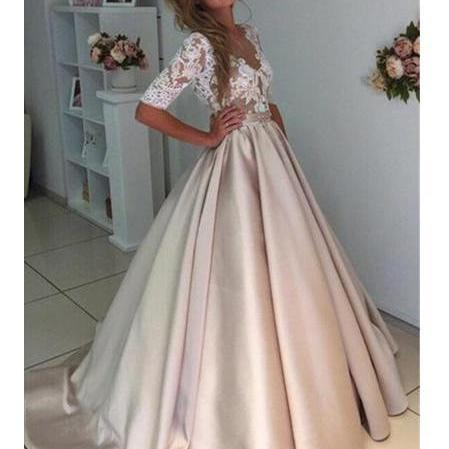 Ball Gown Sexy Prom Dresses Scoop Half Sleeve Short Train Satin Prom Dress/Evening Dress ,P2242