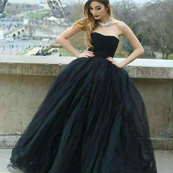Noble Ball Gown Strapless Black Tulle Long Prom/Evening Dress with Pleats,P2254
