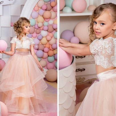 Two Pieces Flower Girl Dress Lace Bodice Tulle Skirt First Communion Dress Short Sleeves Flower Girl Dresses Custom Made Flower Girl Dress Two Pieces,FG2266